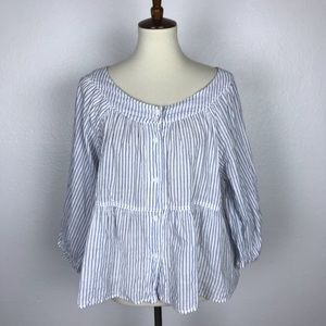We The Free Striped Button Down Cotton Stretch Top